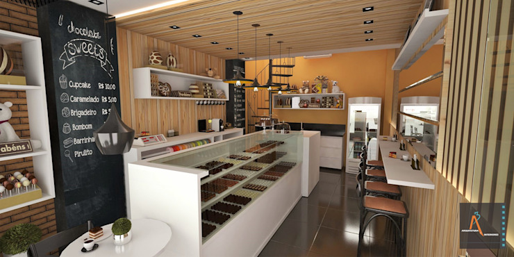 Gastronomia in stile moderno di Ao Cubo Arquitetura e Interiores Moderno Legno Effetto legno