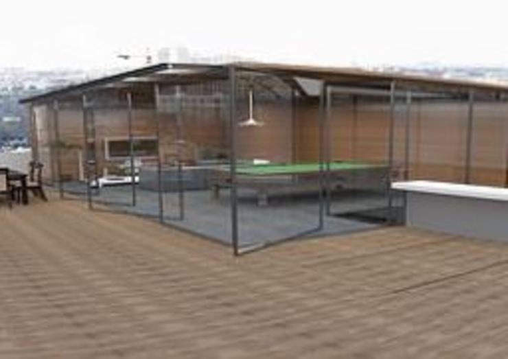 ArtiA desarrollo, arquitectura y mobiliario. Balcone, Veranda & Terrazza in stile minimalista Trasparente