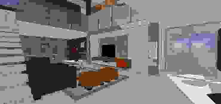 Salón a doble altura MARATEA estudio Salas de estilo minimalista
