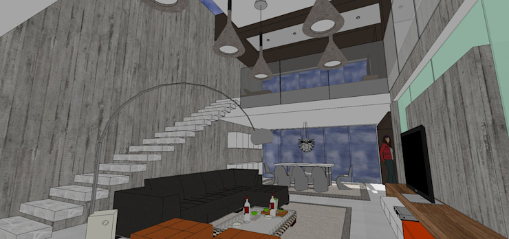 Escalera en el salón principal y vista de la planta alta MARATEA estudio Salas de estilo minimalista