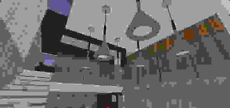 Detalles de techos y pasillo de planta alta MARATEA estudio Salas de estilo minimalista