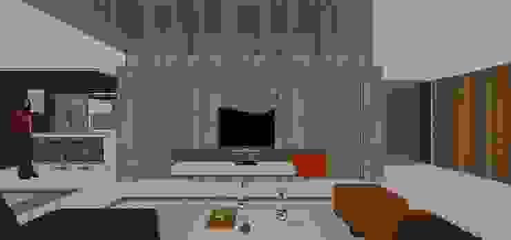 Mueble de Tv en salón principal Salas de estilo minimalista de MARATEA estudio Minimalista