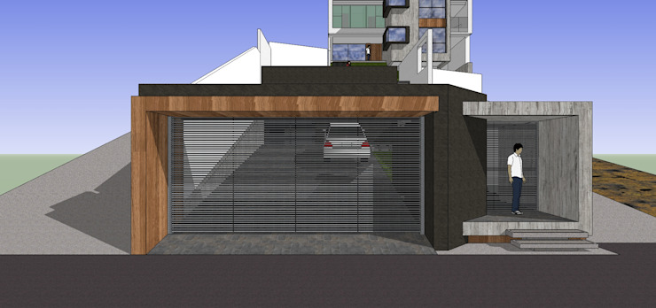 Portón de acceso externo MARATEA estudio Casas de estilo minimalista Madera