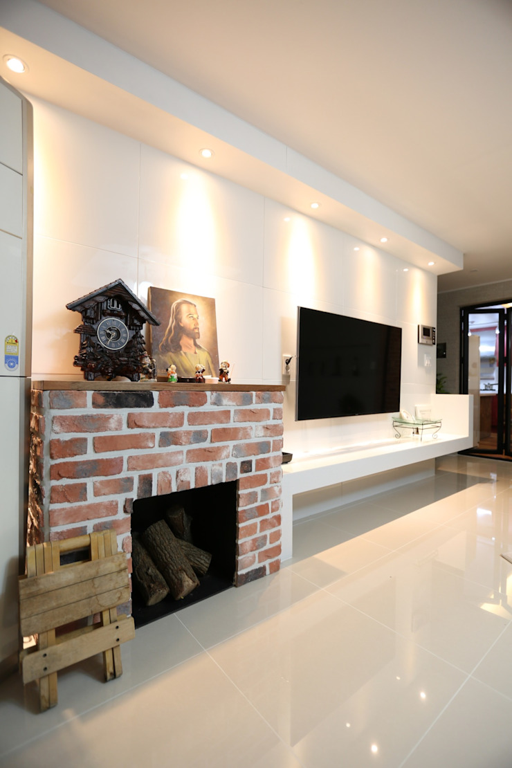 대구 수성구 범어동 푸른마을 아파트 인테리어 리모델링 모던스타일 거실 by inark [인아크 건축 설계 디자인] 모던 돌