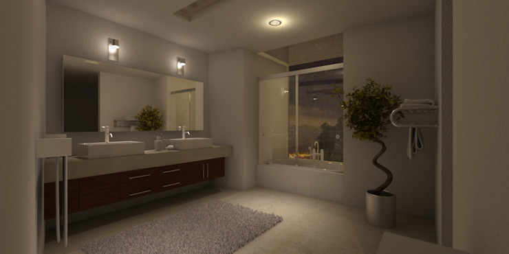 Baño Baños modernos de AParquitectos Moderno Azulejos
