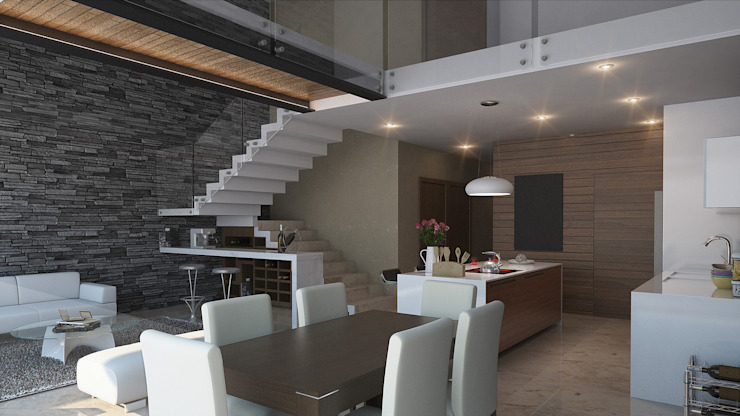 Espacio Interior Comedores de estilo moderno de AParquitectos Moderno