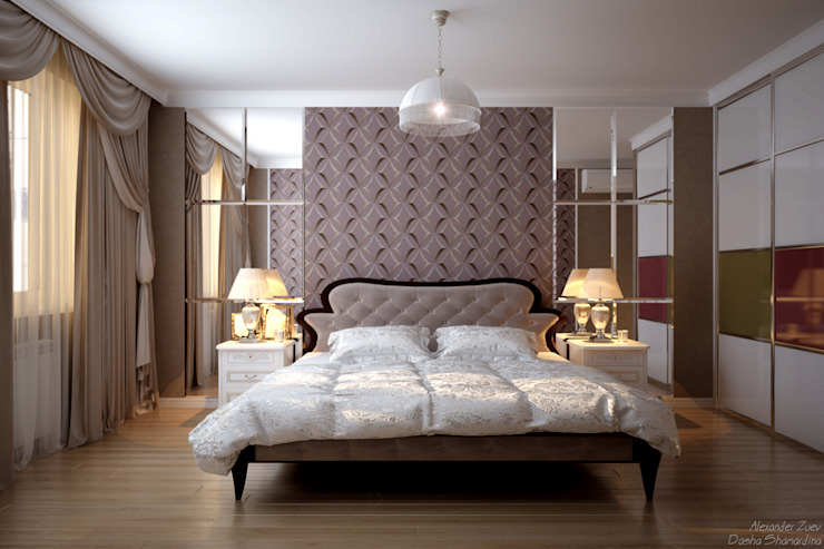 """Дизайн спальни в коттеджном поселке """"Бавария""""2 Спальня в стиле модерн от Студия интерьерного дизайна happy.design Модерн"""