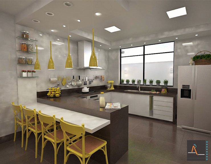 Ao Cubo Arquitetura e Interiores Modern kitchen Ceramic Yellow