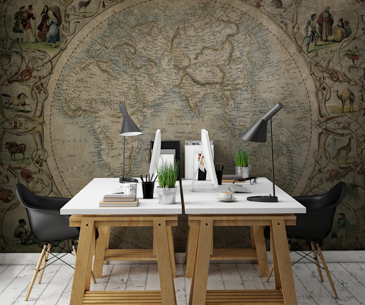 HF118-Stories Around the World por House Frame Wallpaper & Fabrics Moderno