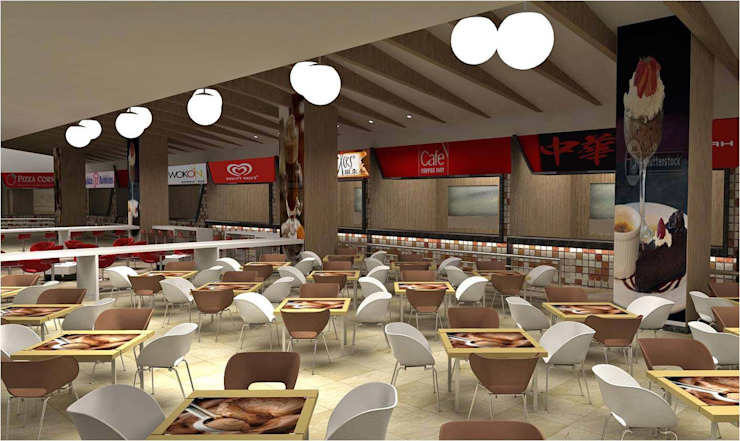 FOOD COURT AREA Modern walls & floors by De Panache - Interior Architects Modern