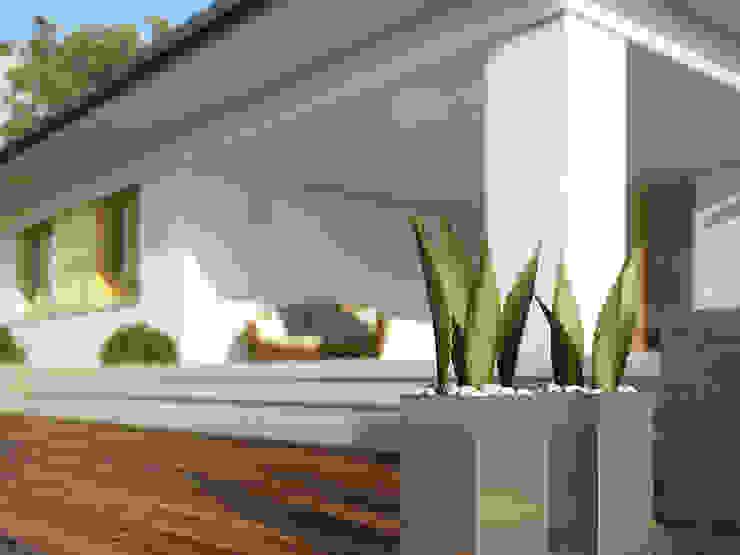 Modern balcony, veranda & terrace by Biuro Projektów MTM Styl - domywstylu.pl Modern