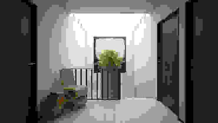 Taller Tres 現代風玄關、走廊與階梯