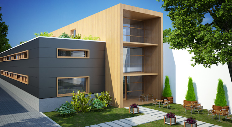 de INZIGHT architecture Moderno Madera Acabado en madera