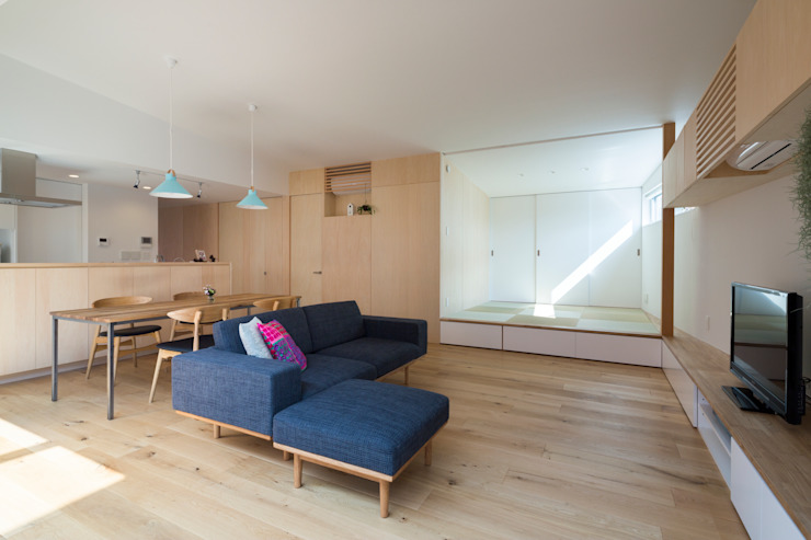 Studio R1 Architects Office Living room Wood Wood effect