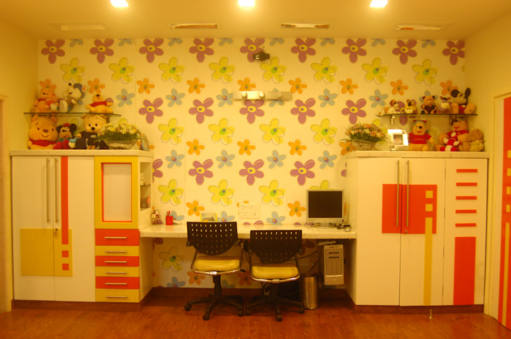 Study Room Image N Shape Nursery/kid's roomDesks & chairs Wood-Plastic Composite Multicolored