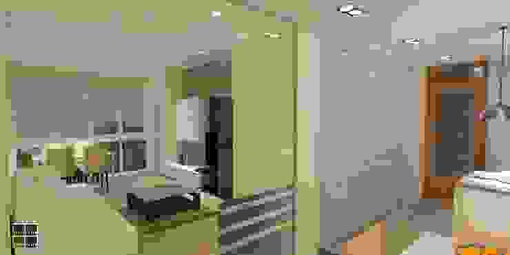 REHABILITACIÓN INTEGRAL DE UNA VIVIENDA EN EL BARRIO DE LES CORTS Salones de estilo moderno de Estudio Arquitectura Ricardo Pérez Asin Moderno