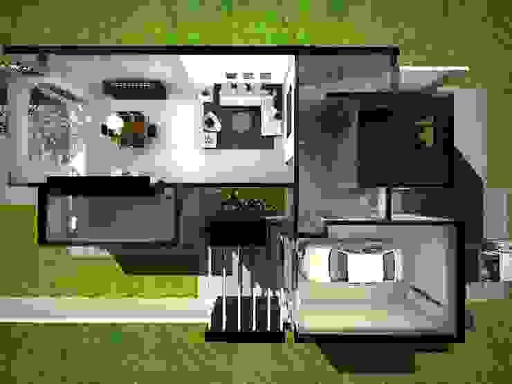 VISTA SUPERIOR DE LA PLANTA BAJA Casas modernas: Ideas, imágenes y decoración de Eugenio Tschaggeny Arquitectura - Decoración - Ambientaciones. Moderno