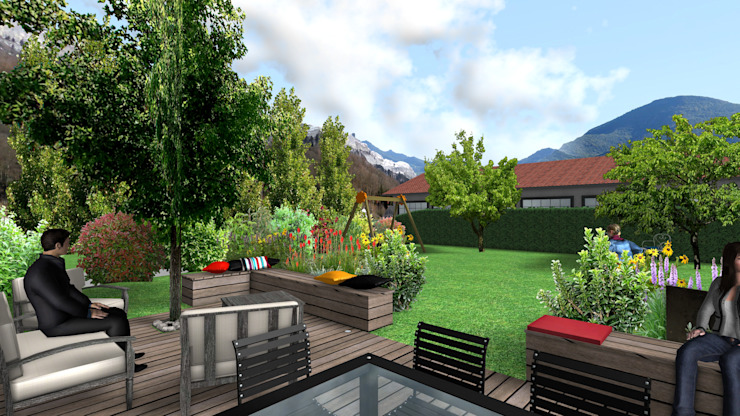 Jardin cocon Jardin moderne par Anthemis Bureau d'Etude Paysage Moderne Bois Effet bois