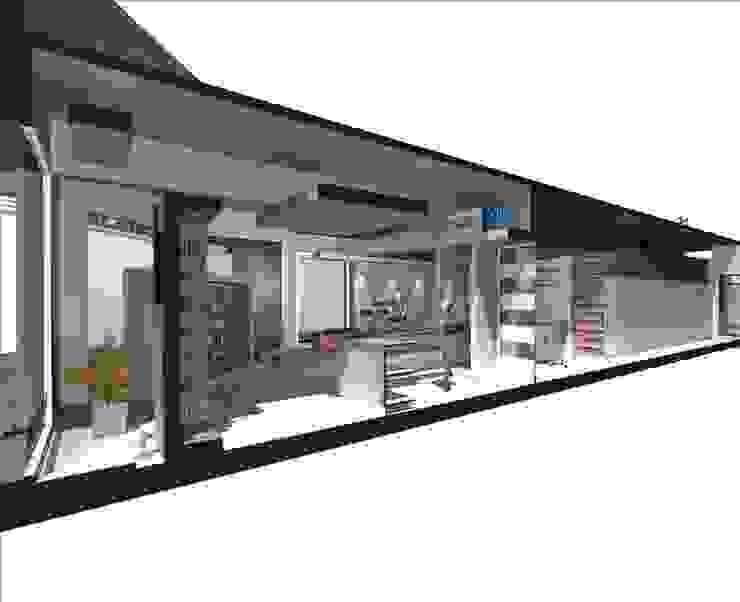CORTE LONGITUDINAL Galerías y espacios comerciales de estilo moderno de Eugenio Tschaggeny Arquitectura - Decoración - Ambientaciones. Moderno