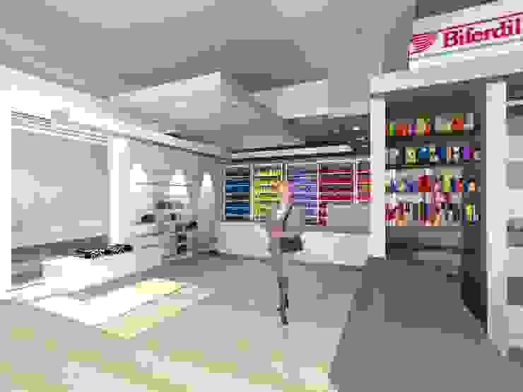 VISTA INTERIOR SECTOR FARMACIA Galerías y espacios comerciales de estilo moderno de Eugenio Tschaggeny Arquitectura - Decoración - Ambientaciones. Moderno