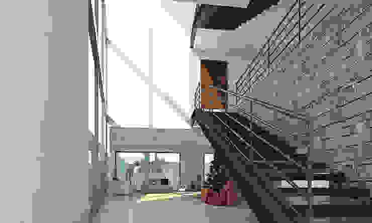 Escalera AParquitectos Pasillos, vestíbulos y escaleras de estilo moderno Madera