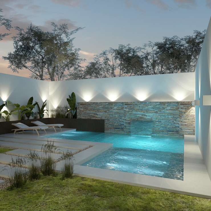 Diseño de patios pequeños con piscina Piletas modernas: Ideas, imágenes y decoración de FILIPPIS/DIP - DISEÑO Y CONSTRUCCION Moderno Hormigón