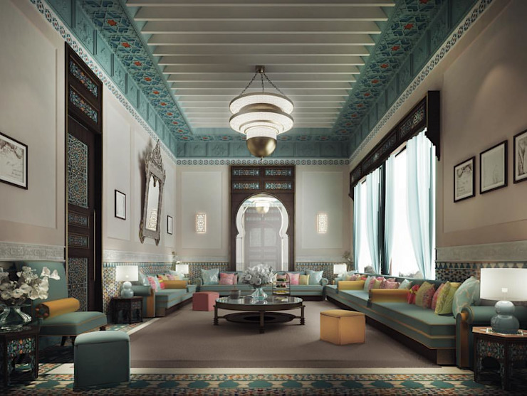 Thriving Legacy Through Luxurious Moroccan Majlis Interior Design Livings de estilo mediterráneo de IONS DESIGN Mediterráneo Madera Acabado en madera