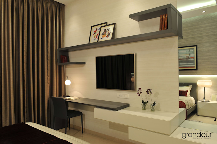 Wall system with desk.: modern  by Grandeur Interiors,Modern
