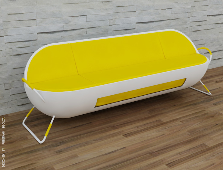 Capsule sofa - Yellow + white Preetham Interior Designer Living roomSofas & armchairs Yellow