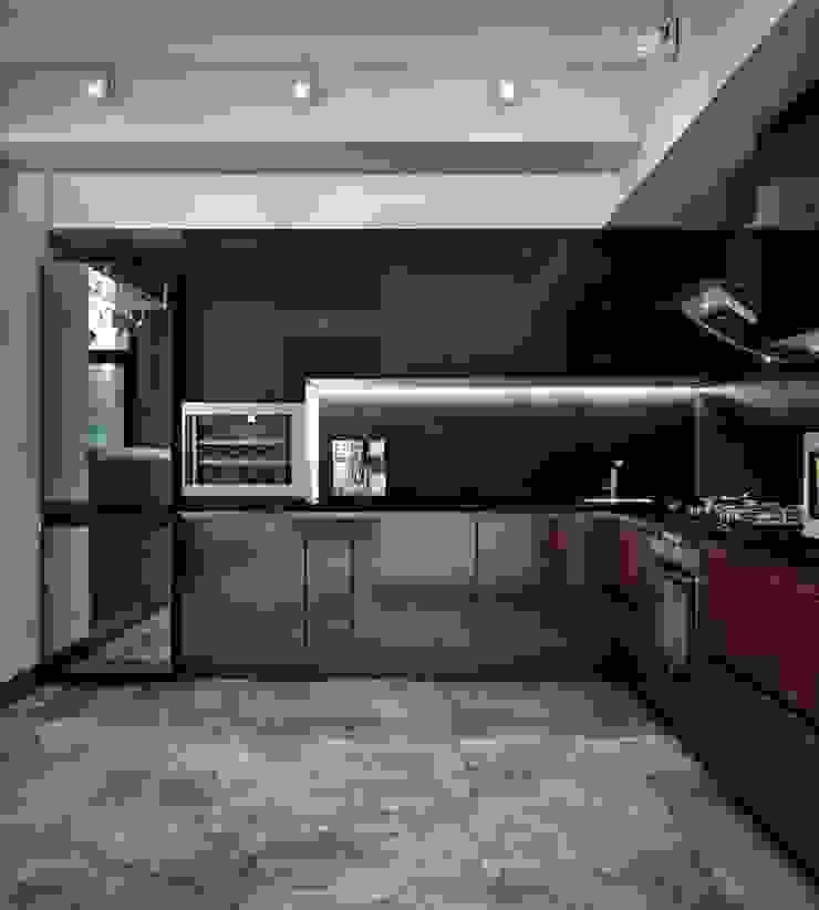 Гостиная и кухня в частном доме Кухня в скандинавском стиле от Sweet Home Design Скандинавский Дерево Эффект древесины