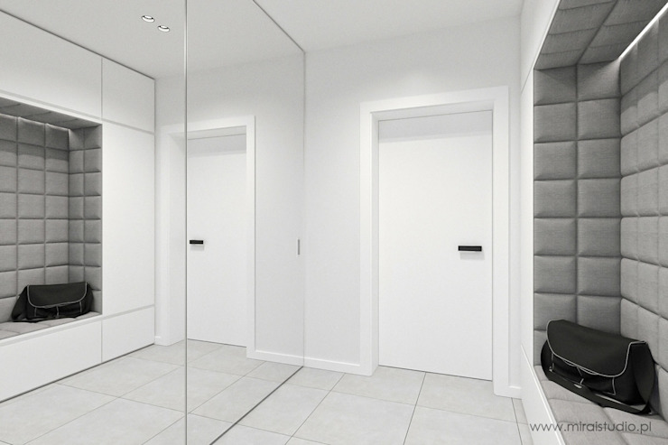 MIRAI STUDIO Minimalist corridor, hallway & stairs MDF White