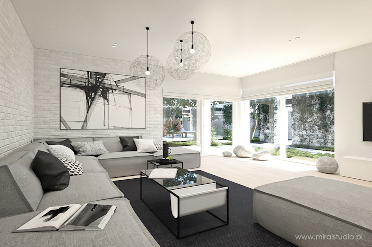 MIRAI STUDIO Living room Bricks Grey