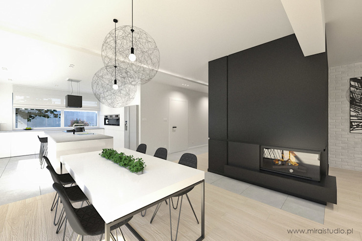 MIRAI STUDIO Minimalist dining room Granite Black