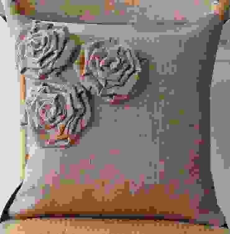 ALMOHADON FLORES de decomania Rústico Textil Ámbar/Dorado