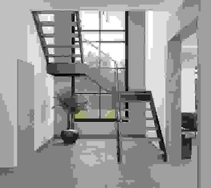 Panorama villaları F&F mimarlik Modern Koridor, Hol & Merdivenler Demir/Çelik Gri