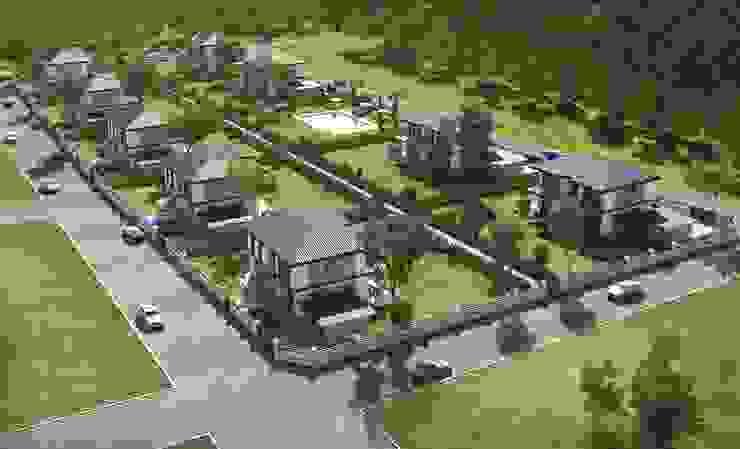 Panorama villaları F&F mimarlik Modern Bahçe Demir/Çelik Gri