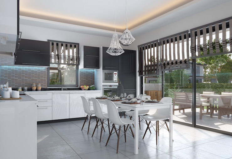 Panorama villaları F&F mimarlik Modern Mutfak Mermer Gri