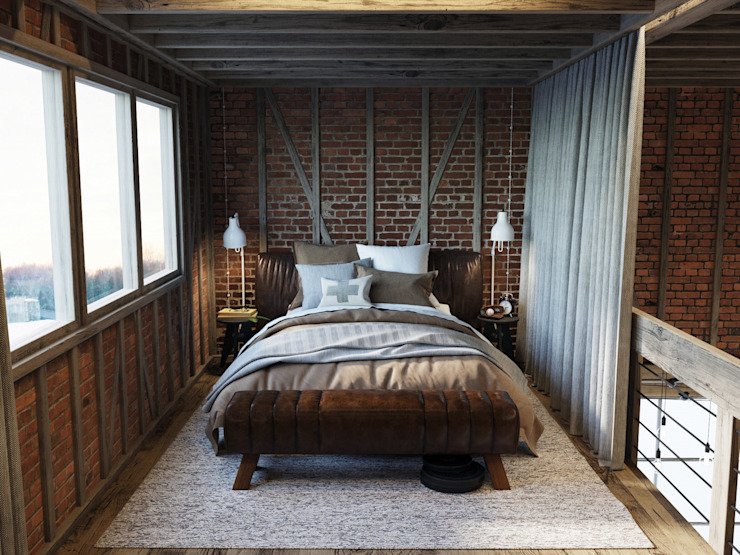 Industrial style bedroom by Anton Medvedev Interiors Industrial