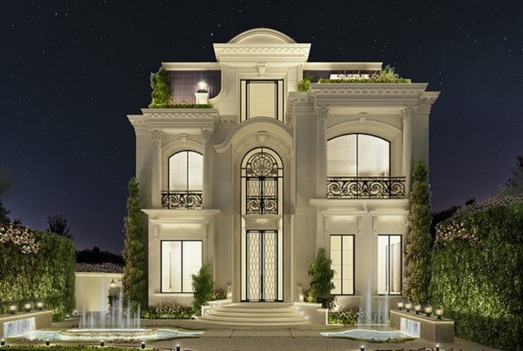 Exploring Luxurious Homes : Enchanting Exterior Architecture by IONS DESIGN Класичний Камінь