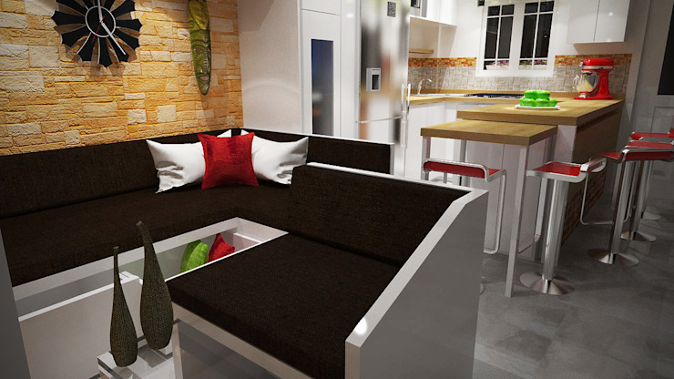 Diseño Sala-Cocina/Comedor Salas de estilo moderno de Rbritointeriorismo Moderno