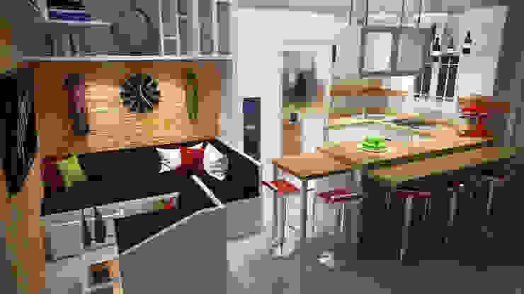 Diseño Sala-Cocina/Comedor Comedores de estilo moderno de Rbritointeriorismo Moderno
