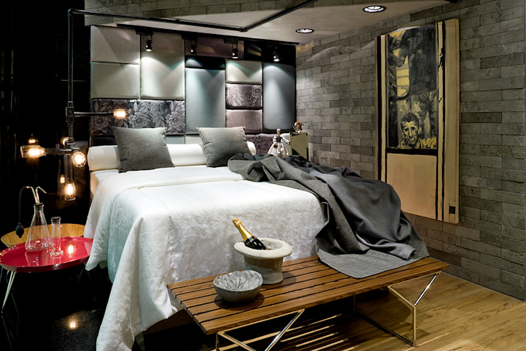 SAINZ arquitetura Industrial style bedroom Bricks Grey