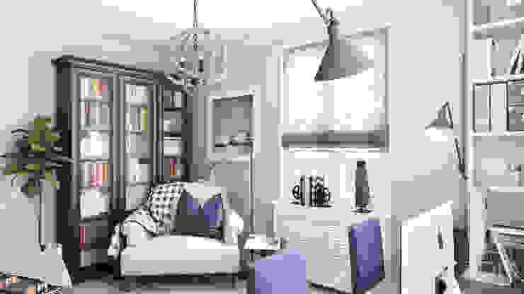 Дизайн гостиной, кабинета и гардеробной Рабочий кабинет в стиле минимализм от студия визуализации и дизайна интерьера '3dm2' Минимализм
