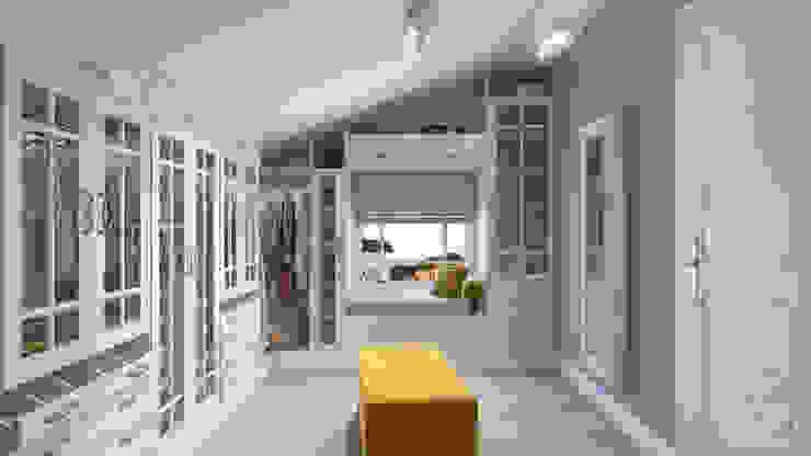 Дизайн гостиной, кабинета и гардеробной Гардеробная в стиле минимализм от студия визуализации и дизайна интерьера '3dm2' Минимализм