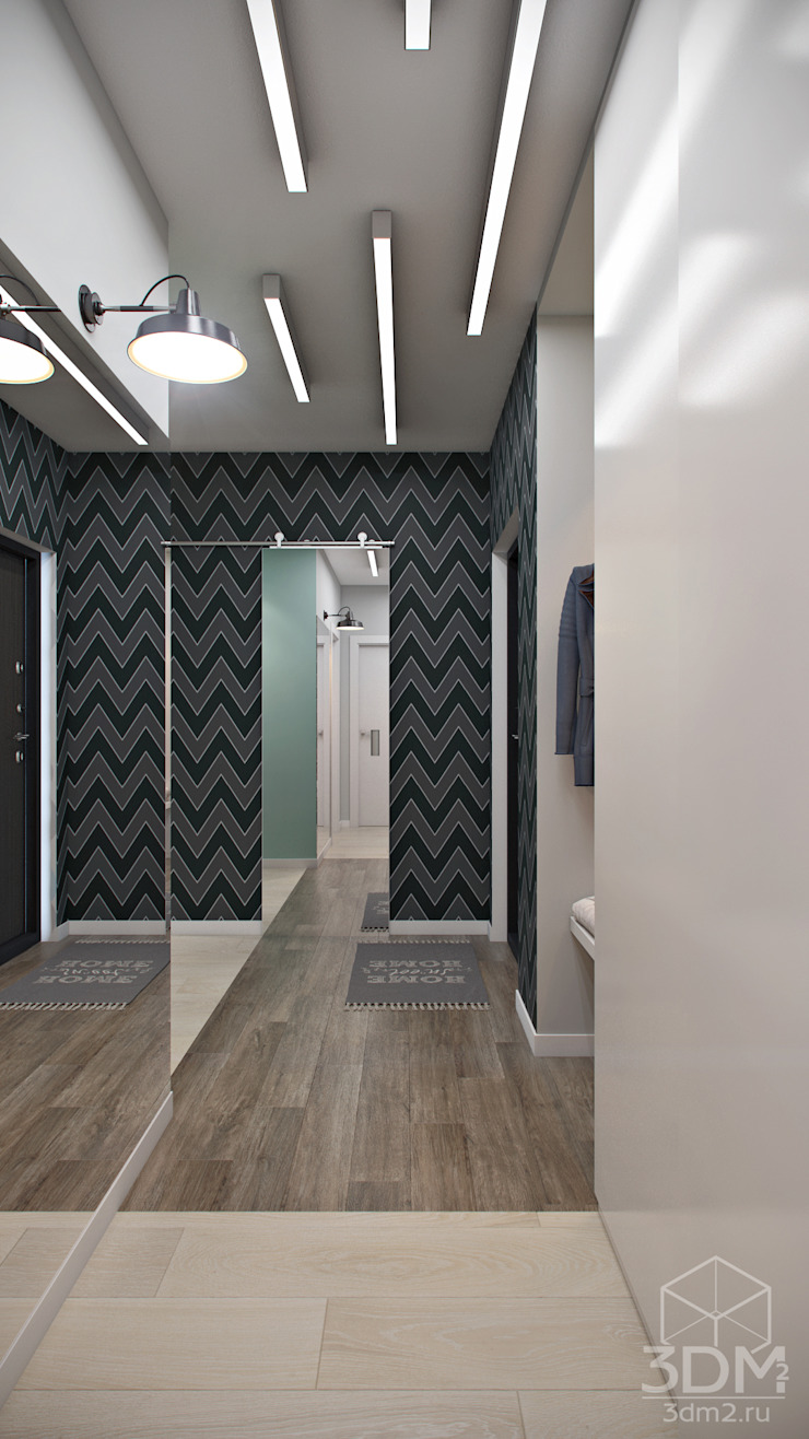студия визуализации и дизайна интерьера '3dm2' Minimalist corridor, hallway & stairs