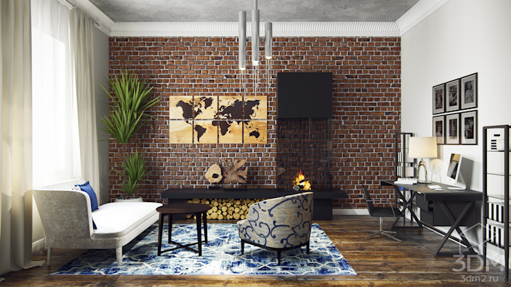 студия визуализации и дизайна интерьера '3dm2' Oficinas de estilo industrial