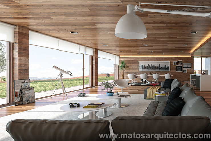 House by River side Salones de estilo moderno de Matos Architects Moderno Madera maciza Multicolor