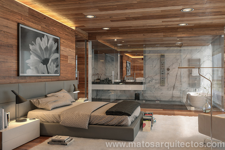 House by River side Matos Architects Modern style bedroom Solid Wood Wood effect