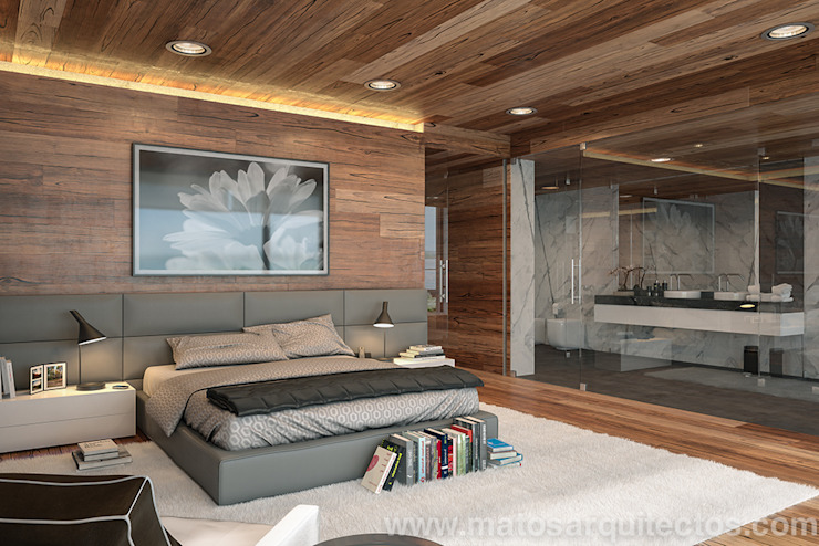 House by River side Modern style bedroom by Matos Architects Modern Solid Wood Multicolored