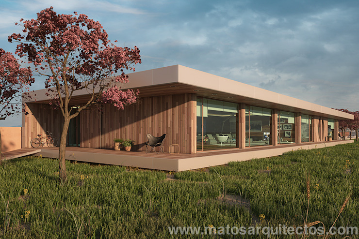 House by River side: Casas  por Matos Architects,Moderno Madeira maciça Multicolor